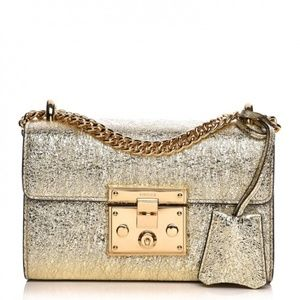 Gucci Padlock Small Metallic Shoulder Bag